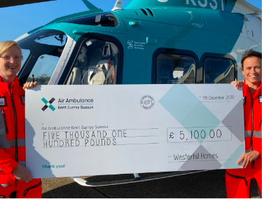 We are delighted to announce our donation to Air Ambulance KSS from Westerhill Homes